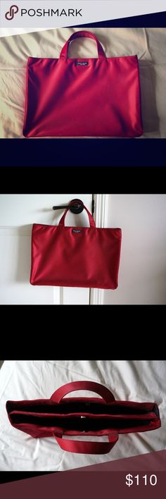 Kate Spade Red Briefcase Stylish red briefcase that is professional and classy! Internal pockets and divided center makes it perfect for organizing your laptop/tablet and other personal items. Also fits a pad of paper/folders. Only used once or twice. Like new. Unique listing as it was only in production for a short time and is hard to find! kate spade Bags Totes