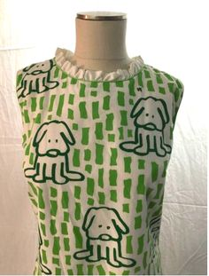 Detail of VG lawn puppy print sleeveless dress, from ebay.