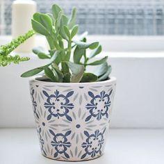Pot de fleur en céramique motif blanc et indigo Thalia Lene Bjerre