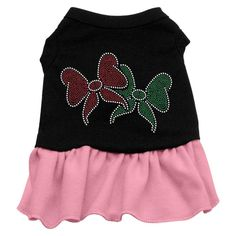 Mirage Pet Products Christmas Bows Rhinestone 18-Inch Pet Dress, XX-Large, Black with Pink >>> Startling review available here  : Dog Dresses