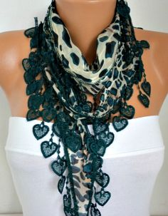 Spring Scarf  Heart Scarf  Emerald  by fatwoman