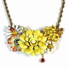 Love this upcycled repurposed necklace! Yellow+Flower+Necklace+Vintage+Inspired+Jewelry+by+BluKatDesign,+$112.00