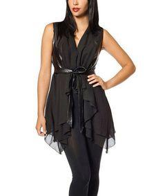 Loving this Black Tie-Waist Sidetail Tunic on #zulily! #zulilyfinds