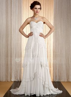 Wedding Dresses - $199.99 - Empire Sweetheart Sweep Train Chiffon Wedding Dress With Lace Cascading Ruffles (002031870) http://jenjenhouse.com/Empire-Sweetheart-Sweep-Train-Chiffon-Wedding-Dress-With-Lace-Cascading-Ruffles-002031870-g31870