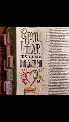 Proverbs 17:22 Scripture Art, Bible Art, Bible Verses, Scriptures, Bible Study Journal, Devotional Journal, Art Journaling, Book Of Proverbs, Bible Illustrations