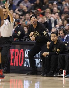 Unbelievable! Current GRAMMY nominee Drake roots for the home team from his courtside seat at the Toronto Raptors versus Brooklyn Nets game on Jan. 11 in Toronto