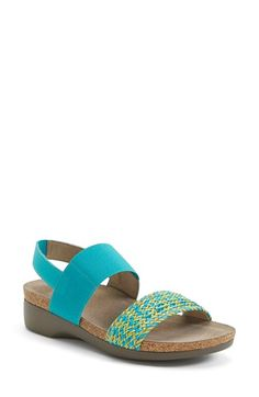 Munro 'Pisces' 2Strap Slingback Wedge Sandal textile/leather turquoise multi, red/multi 1h (139.95) NA 10/15