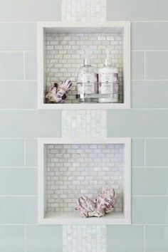 Shower Niches. Love the abalone/pearl color!!