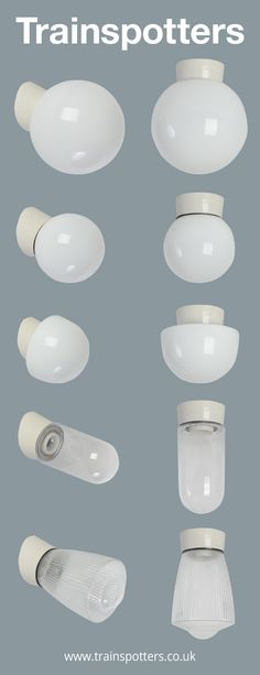 Glass & Porcelain | Wall / Ceiling Lights.  from £65+vat  www.trainspotters.co.uk Industrial Wall Lights, Vintage Industrial Lighting, Ceiling Pendant, Ceiling Lamp, Ceiling Lights, Bathroom Ceiling Light, Bathroom Lighting, Chichester, Cool Chandeliers