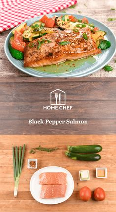 Black Pepper Salmon with hot honey butter and thyme-roasted zucchini and tomatoes