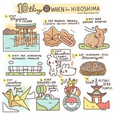 ✨ 10 Things to do in Hiroshima ✨ 1. Visit Miyajima island (and the Itsukushima Shrine) 2. Eat Momiji Manju - sweet bean paste-filled maple-leaf-shaped cake~ A yummy delicacy that is famous as a...
