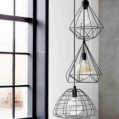 We love the Nordlux Aire, Tees, and Esk pendant lights, each with their own unique Black metal shade. Wire Pendant Light, Black Pendant Light, Pendant Light Fixtures, Ceiling Pendant, Pendant Lighting, Industrial Lighting, Ceiling Lights, Room Interior Design, Interior Styling