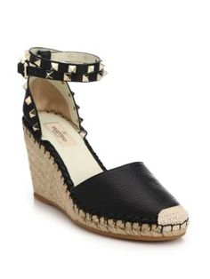 b0df26e1bf Pebbled leather espadrille wedge with studded trimEspadrille wedge heel,  leather upperWraparound ankle-wrap strapLeather liningRubber solePadded  insoleMade ...