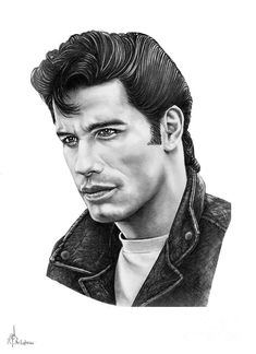 John Travolta by Murphy Elliott ~ traditional pencil art John Travolta, Celebrity Drawings, Celebrity Portraits, Male Portraits, Pencil Art, Pencil Drawings, Monet, Greaser Hair, Danny Zuko