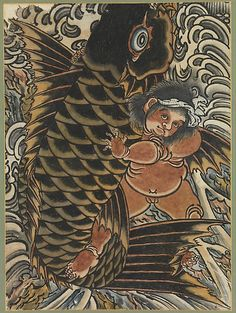 Kintaro with Carp Period: Edo period (1615–1868) Date: 19th century Culture: Japan Medium: Hanging scroll; hand-colored woodblock print Dimensions: Image: 23 3/4 x 17 1/2 in. (60.4 x 44.5 cm) Overall: 56 1/8 x 24 3/4in. (142.6 x 62.9 cm) Classification: Painting