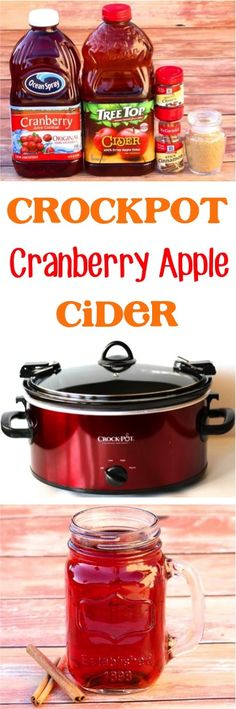 Crock Pot Cranberry Apple Cider Recipe!  The perfect drink to serve at your Fall parties and Holidays!