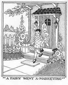 """""""A fairy went a-marketing-- She bought......""""  from the poem by Rose Fyleman - worth looking up!  """"Voices of Verse, Book Two"""" by Harry Eugene Flynn, Ray Butts MacLean and Chester Benford Lund.  Illustrated by Marion Humphreys Matchitt.  Copyrighted 1943 by publishers Lyons and Carnahan."""