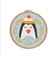 Penguin cross stitch Winter penguin Christmas by StitcheryStitch