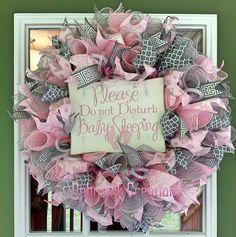 Baby girl wreath, Hospital door wreath, Baby nursery wreath, Front door wreath, Mesh wreath by Debmarkcreations on Etsy https://www.etsy.com/listing/280021430/baby-girl-wreath-hospital-door-wreath