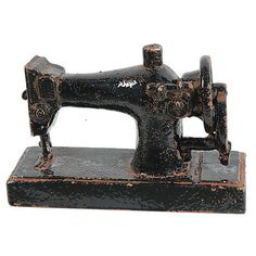 """10"""" Sewing Machine Figurine Black Replicas ($25) ❤ liked on Polyvore featuring home, home decor, decorative accessories, distressed black, inspirational home decor, antique home decor, black figure, black figurines and black home accessories"""