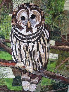 Barbara Strobel Lardon Art quilts: Face Time..barred owl