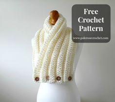 Crochet Ribbed Cowl Scarf - free pattern from Pale Rose Crochet. 10mm hook.
