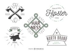 Set of vintage logo template designs in a modern hipster style. Each design features different typography styles, letterings, illustrations and more.