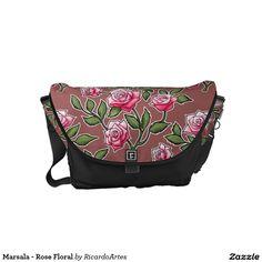 Marsala - Rose Floral Courier Bag