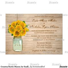 Country Rustic Mason Jar Sunflowers Wedding