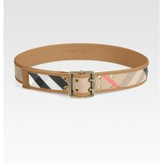 cfab209dd Burberry Leather Accented Check Belt ($325) ❤ liked on Polyvore Saks Fifth  Avenue,