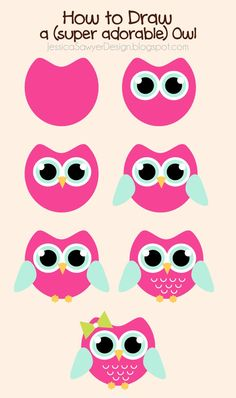 Jessica Sawyer Design: How to Draw an Owl + Free Owl Clipart pinned with Pinvolve - pinvolve.co
