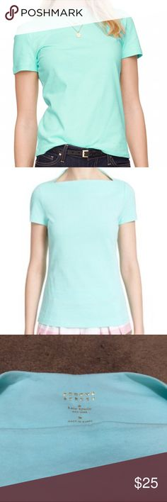 Kate Spade Everyday Tee Kate Spade Broome Street Everyday Tee. Size medium. Boatneck. Carribean sky color. Amazing tee that can be casual or dressed ! A definite essential!!! Purchased in spring 2016! kate spade Tops Tees - Short Sleeve