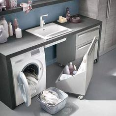 Mobile lavanderia con ruote N30 Atlantic - particolare carrello sottolavatoio…