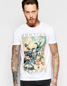 ASOS+T-Shirt+With+Justice+League+Print+In+Relaxed+Skater+Fit