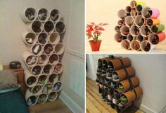Organize your shoes using PVC tubes.