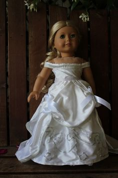 1870's style white duponi silk ball gown and hair by bobbyjosue, $48.50
