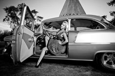 vintage pin up girl with classic car - Google Search
