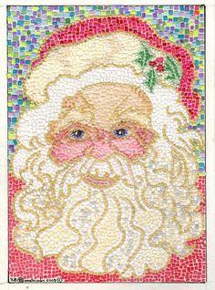 Micro Paper Mosaic Santa Claus Christmas   ACEO by THEODORADESIGNS, $5.00