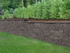 New Allan Block Aztec retaining wall look. Landscaping Blocks, Backyard Fences, Backyard For Kids, Orchard Garden, Backyard Retaining Walls, Backyard Garden, Backyard House, Landscape, Backyard