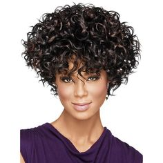 Dark Brown Cheap High Quality Short Curly Synthetic Wig (125 BRL) ❤ liked on Polyvore featuring beauty products, haircare, hair styling tools and curly hair care