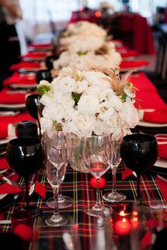 Tartan table runner. Photography by emilieinc.com/, Event Design Coordination by signatureeventsnh.com I love plaid!