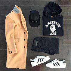 """Streetwear Sundays • camel topcoat: @asos • hoodie: @bape_japan • camp cap: @supremenewyork • denim: @uniqlo • sneakers: @adidasoriginals . . #ootd…"""