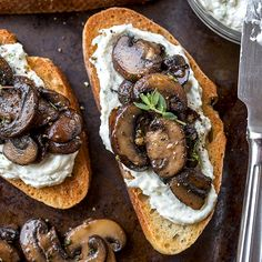 An easy, flavorful appetizer! Garlic Mushroom Toasts -LL
