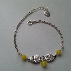 Bracelet de cheville  en acier inoxydable avec chouettes  - 3 perles en agate jaune
