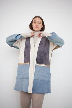 Billedresultat for Quilted Kimono Jacket in Earth with Indigo Avangard Fashion, Unique Fashion, Fashion Prints, Fashion Design, Coats For Women, Jackets For Women, Clothes For Women, Iranian Women Fashion, Denim Coat