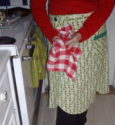 Vintage Apron Attached Dish Towel Green Check Rosebuds Red White Gingham Check