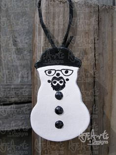 OOAK  Walter White Paperclay Snowman by ajsarts on Etsy, $10.00