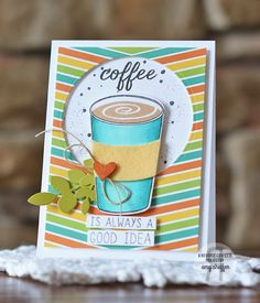 Card by Amy Sheffer. Reverse Confetti stamp sets: Caffeinated Cups and For the Love of Latte. Confetti Cuts: Caffeinated Cups and Leafy. Quick Card Panels: Fall Fun. Friendship card. Coffee Card. Encouragement card.