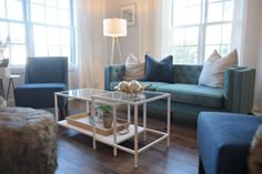 This family room is stunning! Plus she painted the VITTSJO coffee table to look a little fancy! i would call that an ikea hack!