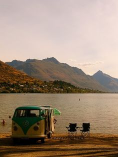 I want to go camping.  With a van.  With water.  With mountains.  Two chairs.  For two people.